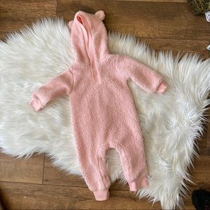 Fuzzy Pink One Piece Teddy Bear Outfit 6 months